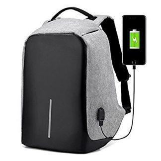 Сигурносен ранец со Powerbank - Сива боја